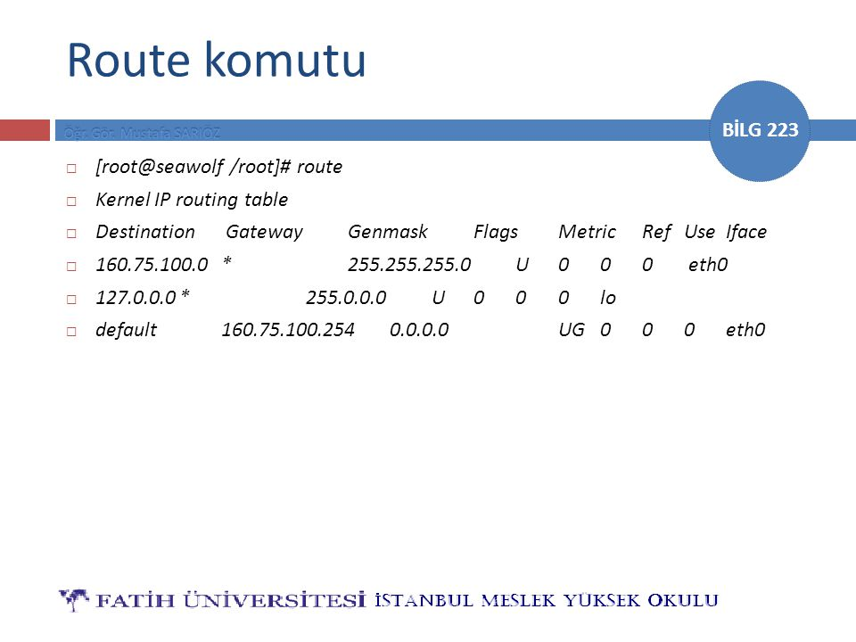 Route komutu [root@seawolf /root]# route Kernel IP routing table